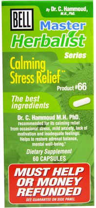 Master Herbalist Series, Calming Stress Relief, 60 Capsules by Bell Lifestyle, 健康,抗壓力,焦慮 HK 香港