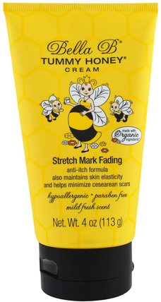 Tummy Honey Cream, Stretch Mark Fading, Mild Fresh Scent, 4 oz (113 g) by Bella B, 健康,懷孕,皮膚,妊娠紋疤痕 HK 香港