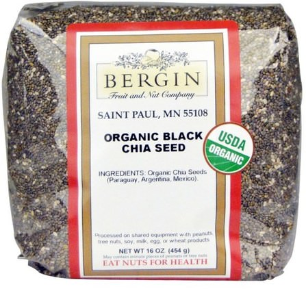 Organic Black Chia Seed, 16 oz (454 g) by Bergin Fruit and Nut Company, 補充劑,efa omega 3 6 9(epa dha),正大種子 HK 香港