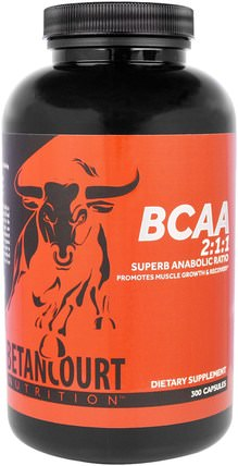 BCAA 2:1:1 Ratio, 300 Capsules by Betancourt, 補充劑,氨基酸,bcaa(支鏈氨基酸) HK 香港
