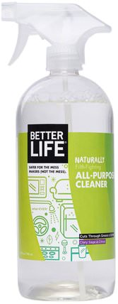 Natural All-Purpose Cleaner, Clary Sage & Citrus, 32 fl oz (946 ml) by Better Life, 家庭,家庭清潔工 HK 香港