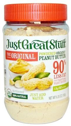 Just Great Stuff, Powdered Organic Peanut Butter, The Original, 6.35 oz (180 g) by Betty Lous, 食物,花生醬 HK 香港