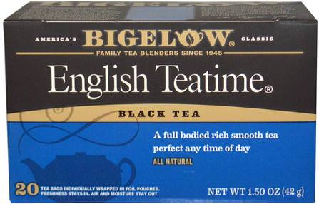 English Teatime, 20 Tea Bags, 1.50 oz (42 g) by Bigelow, 食物,涼茶,紅茶 HK 香港