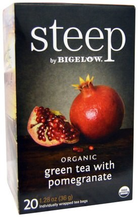 Steep, Organic Green Tea with Pomegranate, 20 Tea Bags, 1.28 oz (36 g) by Bigelow, 補充劑,抗氧化劑,綠茶 HK 香港