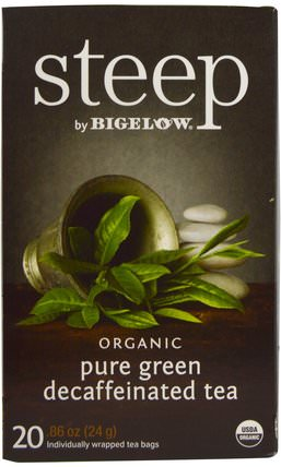Bigelow, Steep, Organic Pure Green Decaffeinated Tea, 20 Tea Bags, 0.86 oz (24 g) 補充劑,抗氧化劑,綠茶