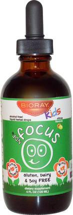 Boost Attention & Remove Toxins, Kids, Citrus Flavor, 4 fl oz (120 ml) by Bioray NDF Focus, 健康,注意力缺陷障礙,添加,adhd,腦 HK 香港