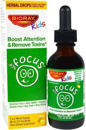Boost Attention & Remove Toxins, Kids, Citrus Flavor, 2 fl oz. (60 ml) by Bioray NDF Focus, 兒童健康,兒童草藥 HK 香港