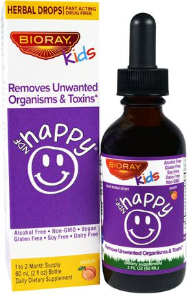 Removes Unwanted Organisms & Toxins, Kids, Peach Flavor, 2 fl oz. (60 ml) by Bioray NDF Happy, 兒童健康,兒童草藥 HK 香港