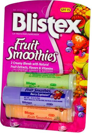 Fruit Smoothies, Lip Protectant/Sunscreen, SPF 15, 3 Sticks.10 oz (2.83 g) Each by Blistex, 沐浴,美容,唇部護理,blistex調味膏,唇部防曬霜 HK 香港