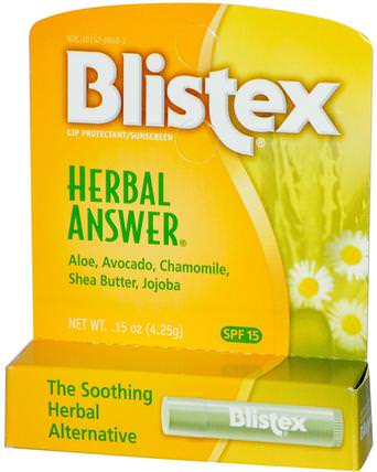 Herbal Answer, Lip Protectant/Sunscreen, SPF 15, 0.15 oz (4.25 g) by Blistex, 沐浴,美容,唇部護理,blistex唇部特定,唇部防曬霜 HK 香港