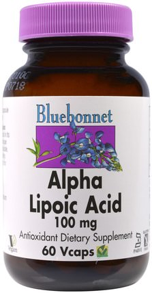 Alpha Lipoic Acid, 100 mg, 60 Vcaps by Bluebonnet Nutrition, 補充劑,抗氧化劑,α硫辛酸 HK 香港