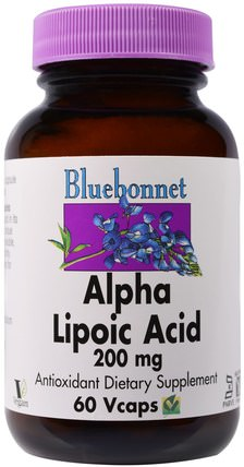 Alpha Lipoic Acid, 200 mg, 60 Vcaps by Bluebonnet Nutrition, 補充劑,抗氧化劑,α硫辛酸,α硫辛酸200毫克 HK 香港