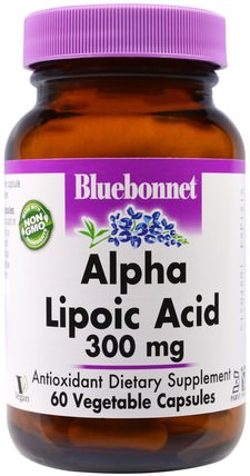 Alpha Lipoic Acid, 300 mg, 60 Veggie Caps by Bluebonnet Nutrition, 補充劑,抗氧化劑,α硫辛酸,α硫辛酸300毫克 HK 香港