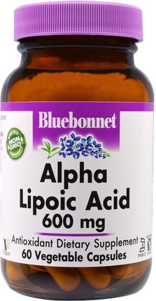 Alpha Lipoic Acid, 600 mg, 60 Veggie Caps by Bluebonnet Nutrition, 補充劑,抗氧化劑,α硫辛酸,α硫辛酸600毫克 HK 香港