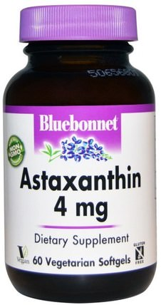 Astaxanthin, 4 mg, 60 Veggie Softgels by Bluebonnet Nutrition, 補充劑,抗氧化劑,蝦青素 HK 香港