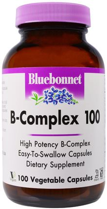 B-Complex 100, 100 Veggie Caps by Bluebonnet Nutrition, 維生素,維生素B複合物100 HK 香港