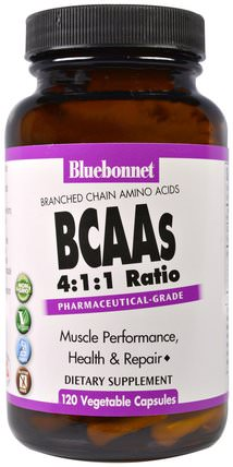 BCAAs 4:1:1 Ratio (Branched Chain Amino Acids), 120 Veggie Caps by Bluebonnet Nutrition, 補充劑,氨基酸,bcaa(支鏈氨基酸) HK 香港