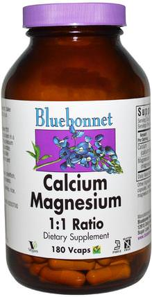 Calcium Magnesium, 1:1 Ratio, 180 Vcaps by Bluebonnet Nutrition, 補充劑,礦物質,鈣和鎂 HK 香港