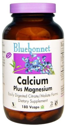 Calcium Plus Magnesium, 180 Veggie Caps by Bluebonnet Nutrition, 補品,礦物質,檸檬酸鈣 HK 香港