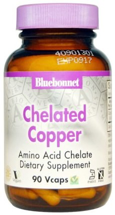 Chelated Copper, 90 Vcaps by Bluebonnet Nutrition, 補品,礦物質,銅 HK 香港