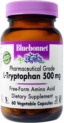 Bluebonnet Nutrition, L-Tryptophan, 500 mg, 60 Veggie Caps 補充劑,l色氨酸,氨基酸