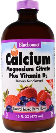 Liquid Calcium Magnesium Citrate Plus Vitamin D3, Natural Mixed Berry Flavor, 16 fl oz (472 ml) by Bluebonnet Nutrition, 補充劑,礦物質,鈣和鎂 HK 香港