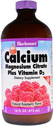 Liquid Calcium, Magnesium Citrate Plus Vitamin D3, Natural Raspberry Flavor, 16 fl oz (472 ml) by Bluebonnet Nutrition, 補充劑,礦物質,鈣和鎂 HK 香港