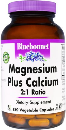 Bluebonnet Nutrition, Magnesium Plus Calcium, 2:1 Ratio, 180 Veggie Caps 補品,礦物質,鎂