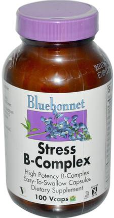 Stress B-Complex, 100 Vcaps by Bluebonnet Nutrition, 維生素,維生素b,維生素b複合物,b抗應激 HK 香港