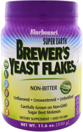 Super Earth Brewers Yeast Flakes, 1.16 oz (330 g) by Bluebonnet Nutrition, 食品,烘焙助劑,啤酒酵母 HK 香港