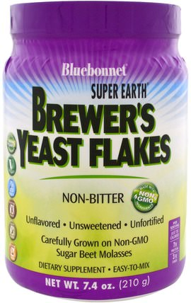 Super Earth, Brewers Yeast Flakes, 7.4 oz (210 g) by Bluebonnet Nutrition, 食品,烘焙助劑,啤酒酵母 HK 香港