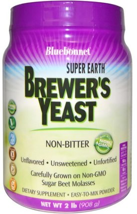 Super Earth Brewers Yeast, Unflavored, 2 lb (908 g) by Bluebonnet Nutrition, 食品,烘焙助劑,啤酒酵母,補品,超級食品 HK 香港