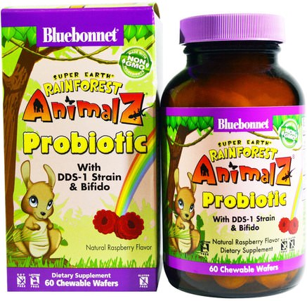 Super Earth, Rainforest Animalz Probiotic, Natural Raspberry Flavor, 60 Chewable Wafers by Bluebonnet Nutrition, 補充劑,益生菌,兒童益生菌,穩定的益生菌 HK 香港