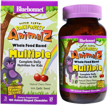 Super Earth, Rainforest Animalz, Whole Food Based Multiple, Natural Cherry Flavor, 180 Chewables by Bluebonnet Nutrition, 維生素,多種維生素,兒童多種維生素 HK 香港