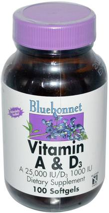 Vitamin A & D3, 100 Softgels by Bluebonnet Nutrition, 維生素,維生素a和d HK 香港