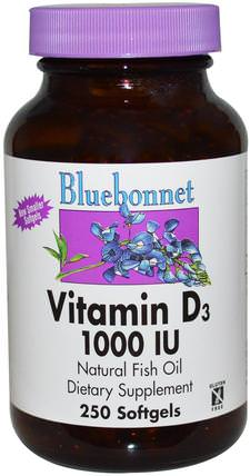 Vitamin D3, 1000 IU, 250 Softgels by Bluebonnet Nutrition, 維生素,維生素D3 HK 香港