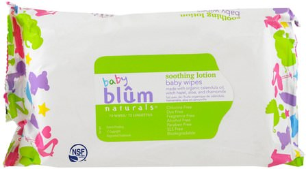 Baby, Soothing Lotion, Baby Wipes, Fragrance Free, 72 Wipes by Blum Naturals, 兒童健康,尿布,嬰兒濕巾 HK 香港