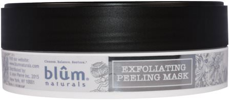 Exfoliating Peeling Mask, 3.45 oz (110 ml) by Blum Naturals, 美容,面膜 HK 香港