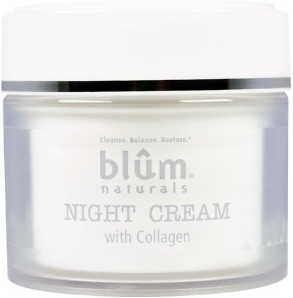 Night Cream with Collagen, 1.69 oz (50 ml) by Blum Naturals, 健康,皮膚,晚霜 HK 香港