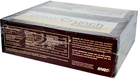 Power Crunch, Protein Energy Bar, Choklat, Milk Chocolate, 12 Bars, 1.5 oz (42 g) Each by BNRG, 運動,蛋白質棒 HK 香港