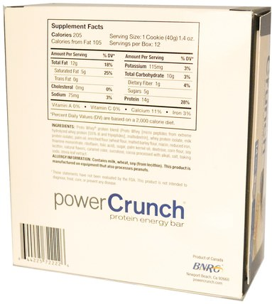 Power Crunch Protein Energy Bar, Cookies and Crme, 12 Bars, 1.4 oz (40 g) Each by BNRG, 運動,蛋白質棒 HK 香港