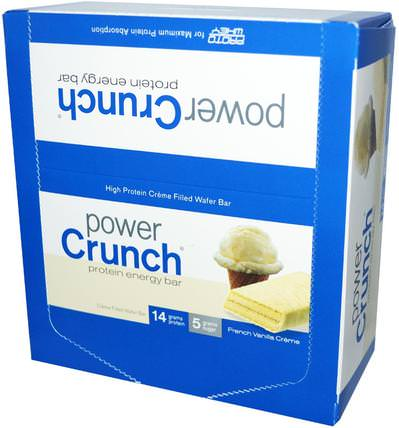 Power Crunch Protein Energy Bar, French Vanilla Creme, 12 Bars, 1.4 oz (40 g) Each by BNRG, 運動,蛋白質棒 HK 香港