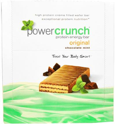 Power Crunch Protein Energy Bar, Original, Chocolate Mint, 12 Bars, 1.4 oz (40 g) Each by BNRG, 運動,蛋白質棒 HK 香港