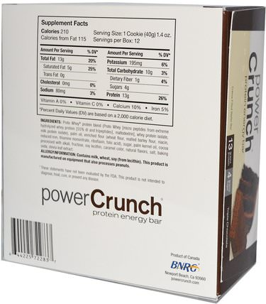 Power Crunch Protein Energy Bar Original, Triple Chocolate, 12 Bars, 1.4 oz (40 g) Each by BNRG, 運動,蛋白質棒 HK 香港