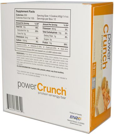 Power Crunch Protein Energy Bar, Peanut Butter Creme, 12 Bars, 1.4 oz (40 g) Each by BNRG, 運動,蛋白質棒 HK 香港