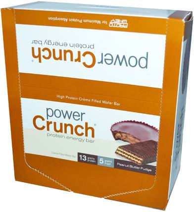 Power Crunch Protein Energy Bar, Peanut Butter Fudge, 12 Bars, 1.4 oz (40 g) Each by BNRG, 運動,蛋白質棒 HK 香港