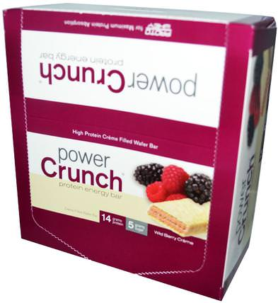 Power Crunch Protein Energy Bar, Wild Berry Creme, 12 Bars, 1.4 oz (40 g) Each by BNRG, 運動,蛋白質棒 HK 香港