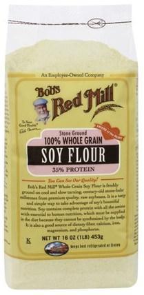 100% Whole Grain Soy Flour, 16 oz (453 g) by Bobs Red Mill, 食品,麵粉和混合物,豆製品 HK 香港