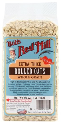 Extra Thick Rolled Oats, Whole Grain, 16 oz (1 lb) 453 g by Bobs Red Mill, 食品,食品,燕麥燕麥片,穀類食品 HK 香港