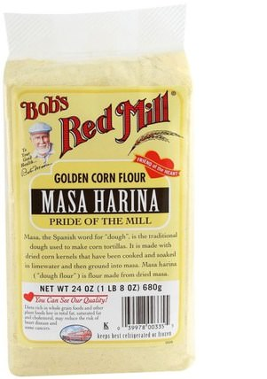 Masa Harina, Golden Corn Flour, 24 oz (680 g) by Bobs Red Mill, 食物,麵粉和混合物 HK 香港